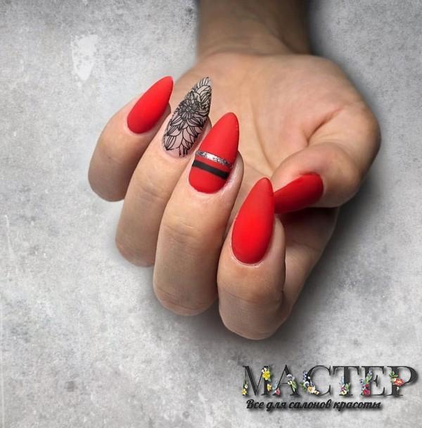 длинные ногти с яркими цветами
