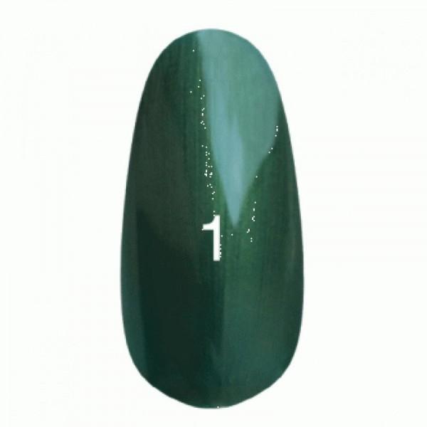 Гель лак № 1 (темно-зеленый с перламутром) 8 мл.