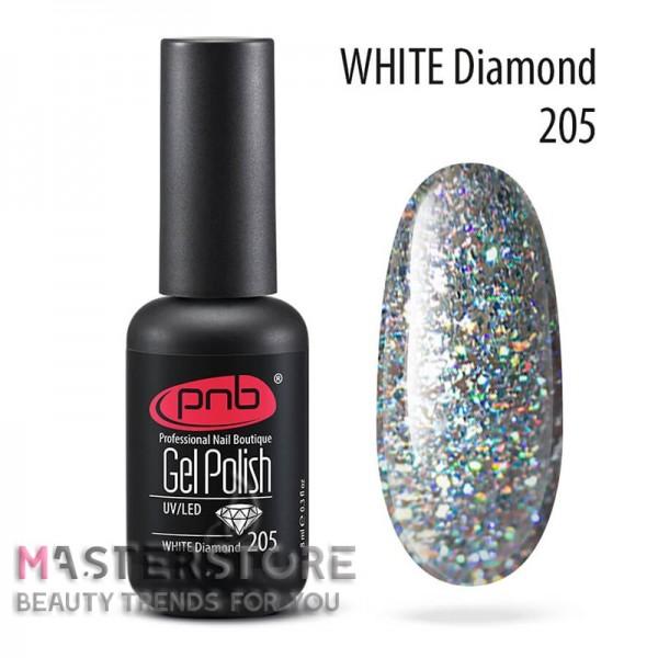 Гель-лак PNB 205 White Diamond, 8 мл