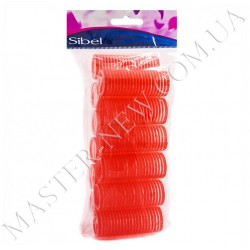 Бигуди-липучки Sibel 4121049 красные, 13 мм (12 шт.)