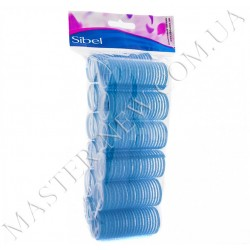 Бигуди-липучки Sibel 4121649 голубые, 15 мм (12 шт.)