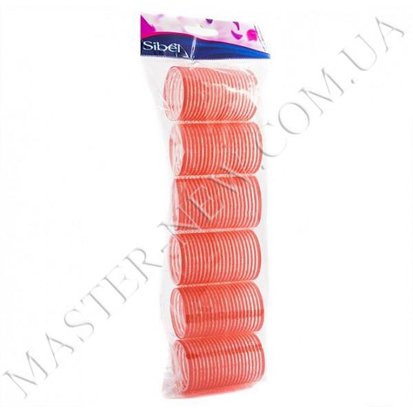 Бигуди-липучки Sibel 412404 розовые, 36 мм (12 шт.)