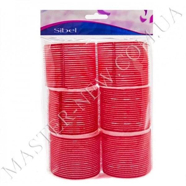 Бигуди-липучки Sibel 4167549 красные, 70 мм (6 шт.)
