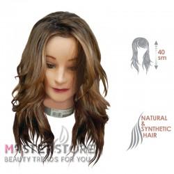 Голова тренировочная парикмахерская для моделирования причесок, натуральные и искусственные волосы 50%/50%. Шатенка (40 см)