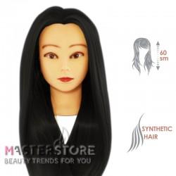 Голова тренировочная парикмахерская для моделирования причесок с искусственными волосами. Брюнетка (60 см)