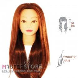 Голова тренировочная парикмахерская для моделирования причесок с искусственными волосами. Рыжая (60 см)