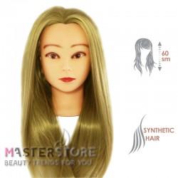 Голова тренировочная парикмахерская для моделирования причесок с искусственными волосами. Светло-русая (60 см)