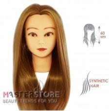 Голова тренировочная парикмахерская для моделирования причесок с искусственными волосами. Темно-русая (60 см)