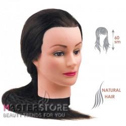 Голова тренировочная парикмахерская для моделирования причесок с натуральными волосами. Брюнетка