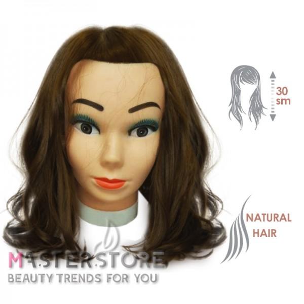 Голова тренировочная парикмахерская для моделирования причесок с натуральными волосами. Шатенка (30 см)