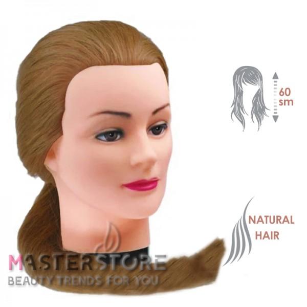 Голова тренировочная парикмахерская для моделирования причесок с натуральными волосами. Шатенка