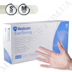 Перчатки виниловые Medicom EverStrong нестерильные прозрачные без пудры