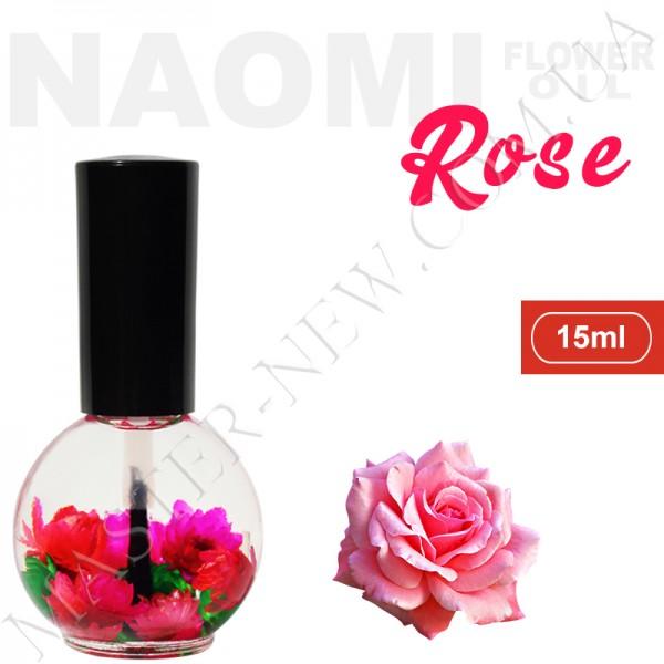 Цветочное масло для кутикулы и ногтей Naomi с экстрактом масла розы (15 мл)