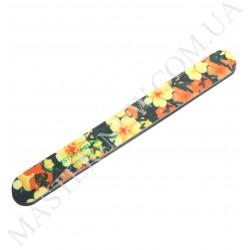 Пилочка для ногтей DUP Чехия 120/200 узкая прямая цветочный узор темная