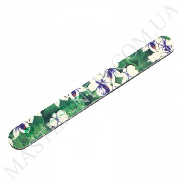 Пилочка для ногтей DUP Чехия 150/200 узкая прямая цветочный узор зеленая