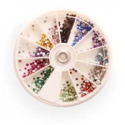 Стразы в банке каруселька разноцветные MIX-12